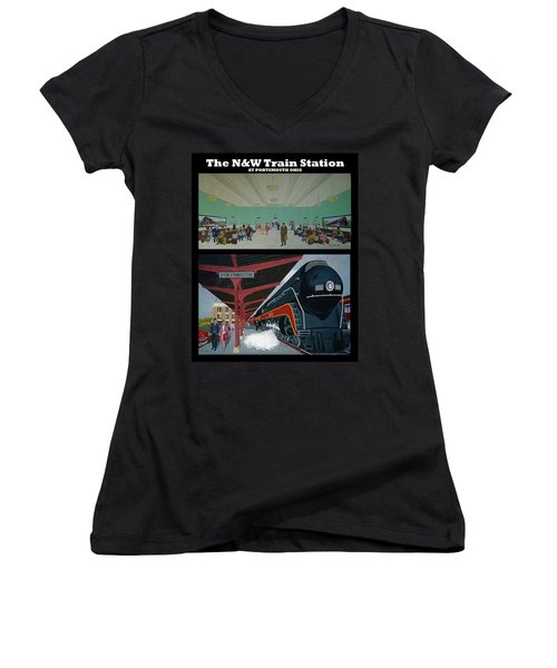 The Train Station At Portsmouth Ohio Women's V-Neck T-Shirt (Junior Cut) by Frank Hunter