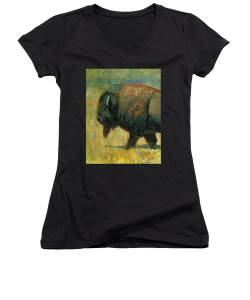 Women's V-Neck T-Shirt (Junior Cut) featuring the painting The Traveler by Billie Colson