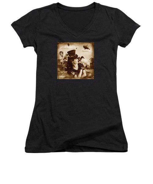 The Traveler Vintage Sepia Version Women's V-Neck T-Shirt (Junior Cut) by Alessandro Della Pietra