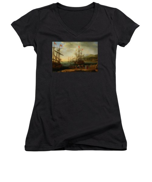 Women's V-Neck T-Shirt (Junior Cut) featuring the painting The Trojan Women Setting Fire To The Fleet by Claude Lorrain