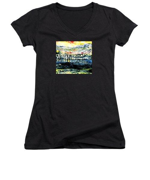 The Twisted Reach Of Crazy Sorrow Women's V-Neck T-Shirt (Junior Cut) by Trudi Doyle