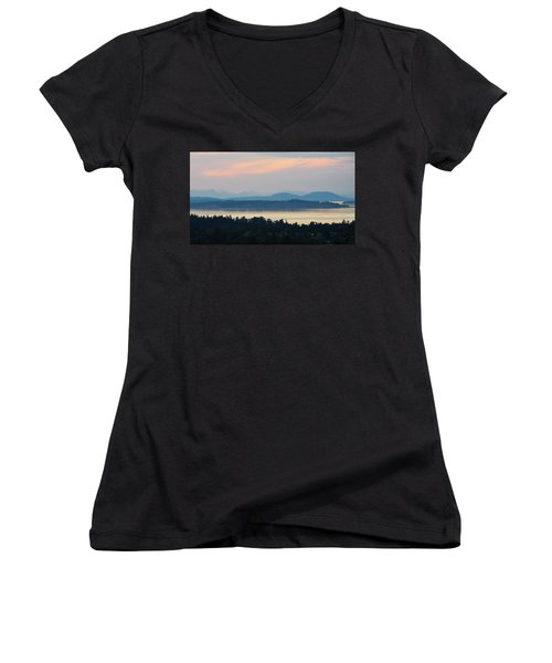 The View From Mt. Tolmie Women's V-Neck T-Shirt (Junior Cut) by Keith Boone