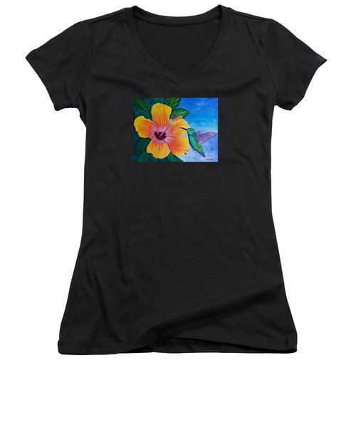 The Visitor Women's V-Neck T-Shirt (Junior Cut) by Laura Forde