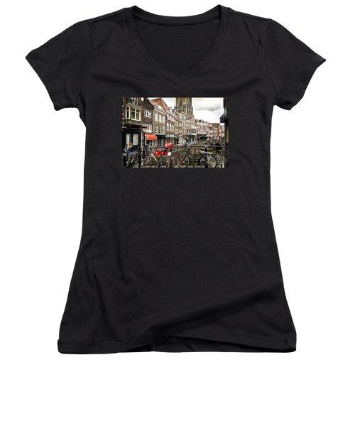 Women's V-Neck T-Shirt (Junior Cut) featuring the photograph The Vismarkt In Utrecht by RicardMN Photography