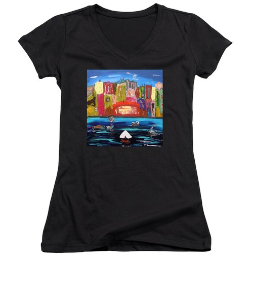 The Vista Of The City Women's V-Neck T-Shirt (Junior Cut) by Mary Carol Williams