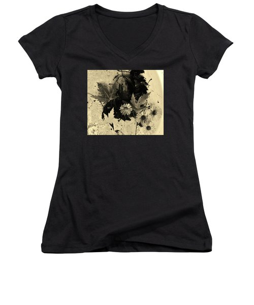 Women's V-Neck T-Shirt (Junior Cut) featuring the mixed media The Waiting Pool by Mary Ellen Frazee
