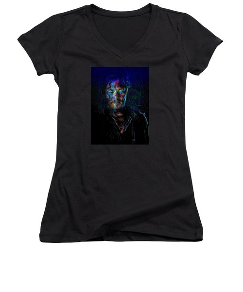The Walking Dead Daryl Dixon Painted Women's V-Neck T-Shirt (Junior Cut) by David Haskett