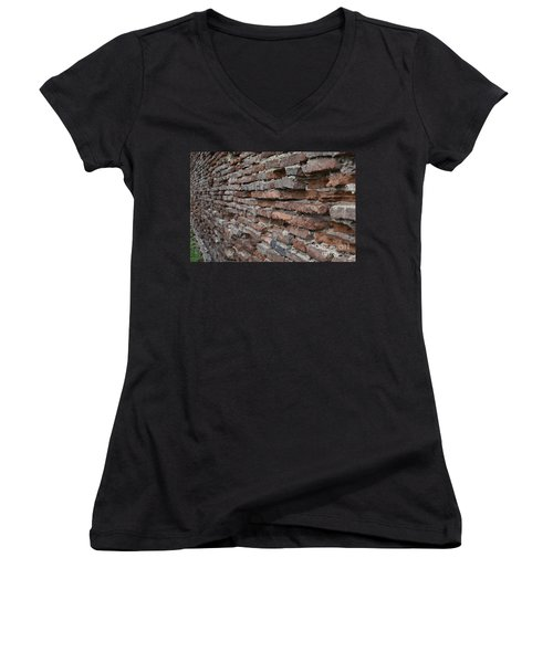 Women's V-Neck T-Shirt (Junior Cut) featuring the photograph The Wall by Cendrine Marrouat