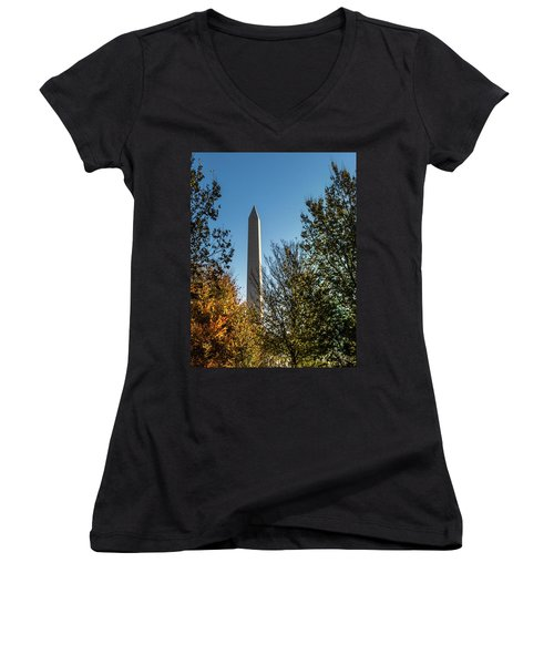 The Washington Monument In Fall Women's V-Neck