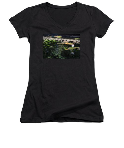 The Water Lily Women's V-Neck T-Shirt (Junior Cut) by Cendrine Marrouat