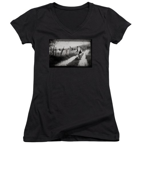 The Way Of The Crow Women's V-Neck T-Shirt (Junior Cut) by Gray  Artus