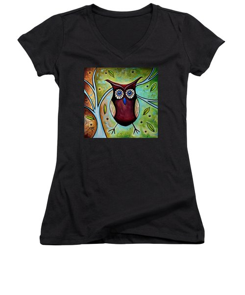 The Whimsical Owl Women's V-Neck (Athletic Fit)