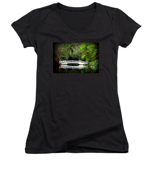 The White Bridge In Magnolia Gardens Sc Women's V-Neck