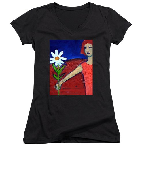 Women's V-Neck T-Shirt (Junior Cut) featuring the painting The White Flower by Winsome Gunning