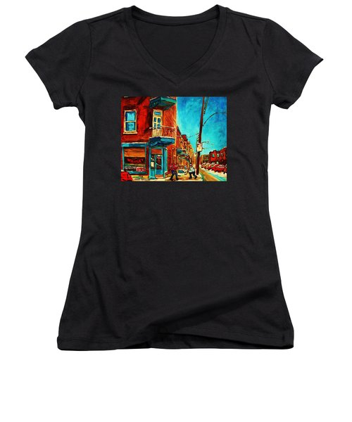 Women's V-Neck T-Shirt (Junior Cut) featuring the painting The Wilensky Doorway by Carole Spandau