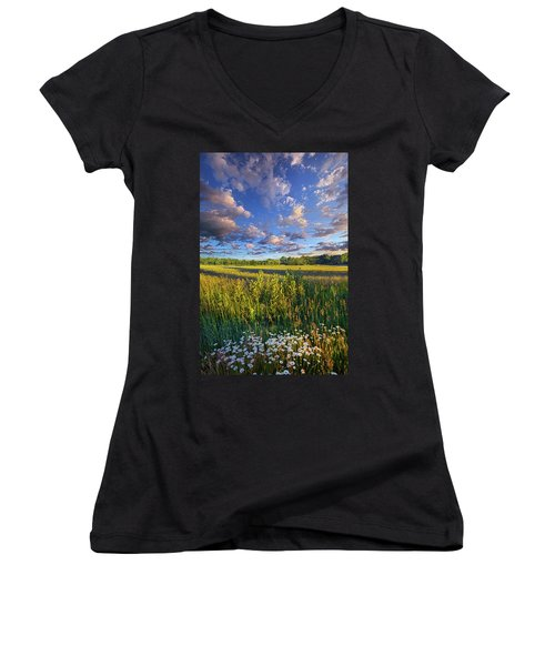 The World Is Quiet Here Women's V-Neck T-Shirt (Junior Cut) by Phil Koch