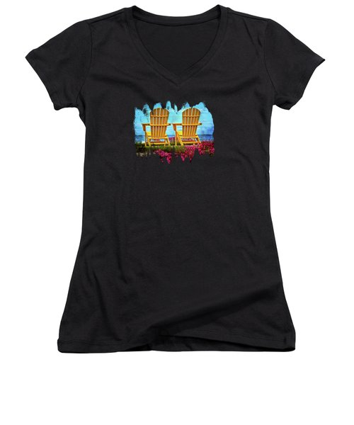 The Yellow Chairs By The Sea Women's V-Neck T-Shirt