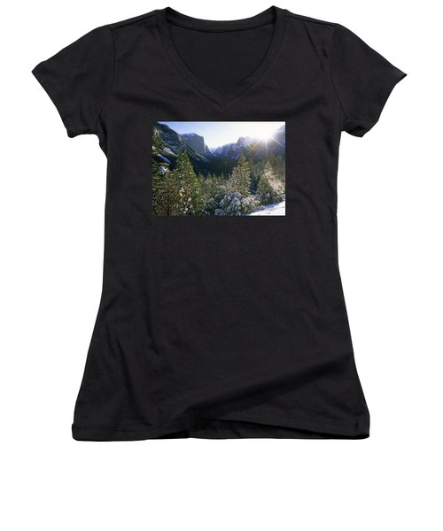 The Yosemite Valley In Winter Women's V-Neck (Athletic Fit)