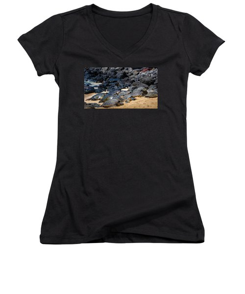 Women's V-Neck featuring the photograph There Has Got To Be More Room On This Beach  by Jim Thompson