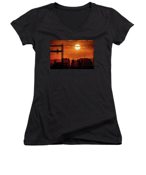 Women's V-Neck T-Shirt (Junior Cut) featuring the photograph There It Is by Michael Rogers