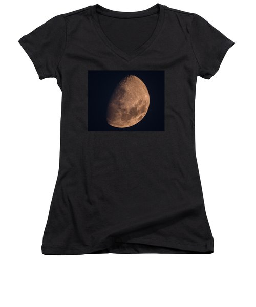 There's A Moon Up Tonight Women's V-Neck T-Shirt (Junior Cut) by Kenneth Cole