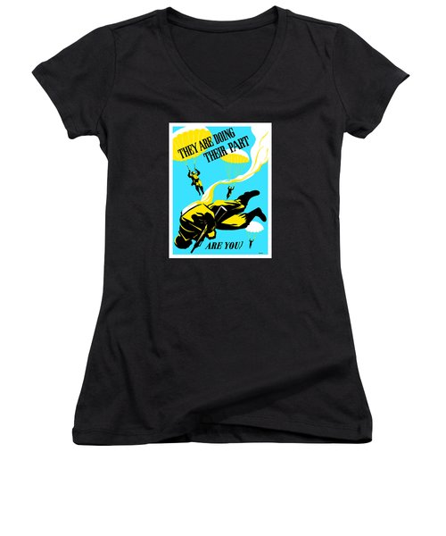 Women's V-Neck T-Shirt (Junior Cut) featuring the painting They Are Doing Their Part - Are You by War Is Hell Store