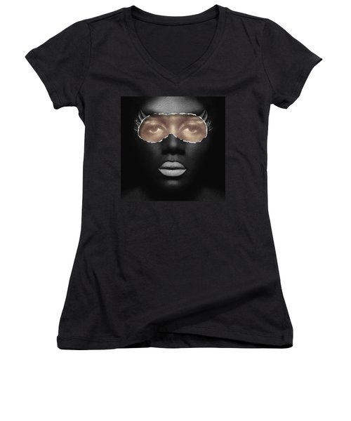 Thin Skinned Black Women's V-Neck T-Shirt (Junior Cut) by ISAW Gallery