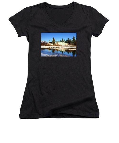 Thingvellir Iceland  Women's V-Neck T-Shirt (Junior Cut) by Matthias Hauser