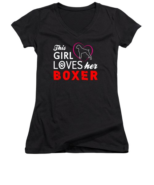 This Girl Loves Her Boxer Women's V-Neck (Athletic Fit)