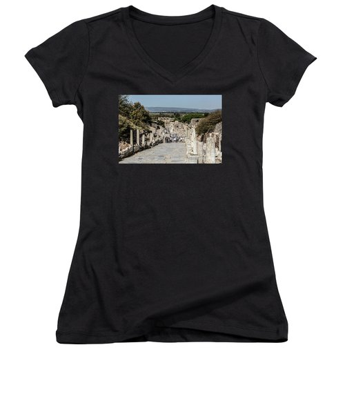 This Is Ephesus Women's V-Neck T-Shirt (Junior Cut) by Kathy McClure