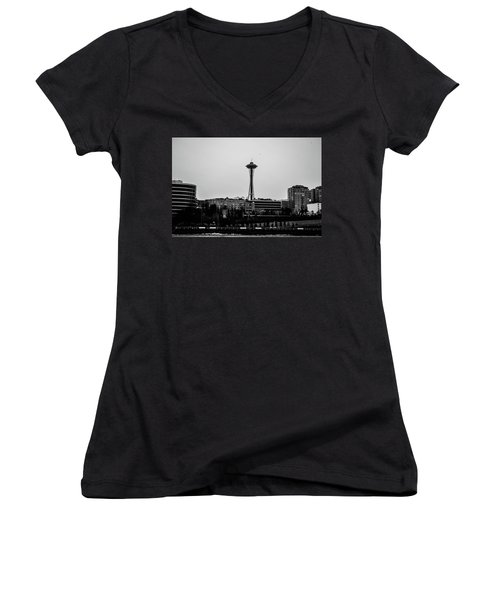 This Is Seattle Black And White Women's V-Neck (Athletic Fit)