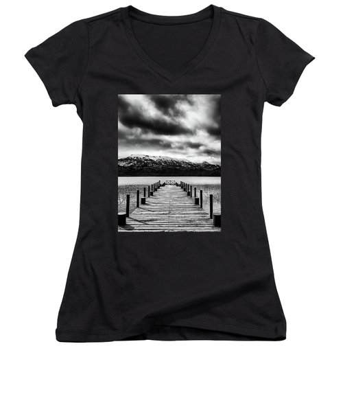 Landscape With Lake And Snowy Mountains In The Argentine Patagonia - Black And White Women's V-Neck
