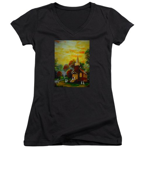 This Sunday Women's V-Neck T-Shirt (Junior Cut) by Emery Franklin