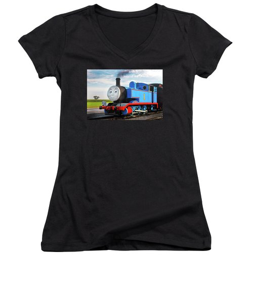 Thomas The Train Women's V-Neck T-Shirt (Junior Cut) by Paul W Faust -  Impressions of Light