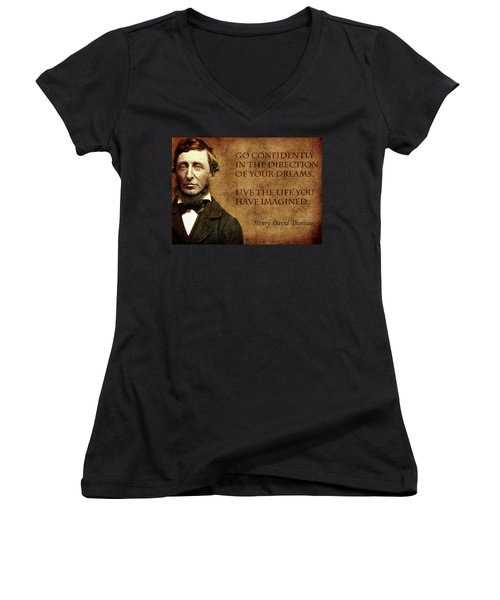 Thoreau Quote 1 Women's V-Neck T-Shirt (Junior Cut) by Andrew Fare