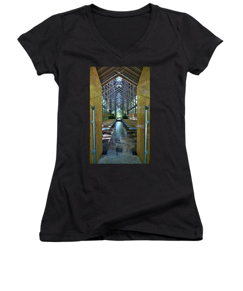 Women's V-Neck T-Shirt (Junior Cut) featuring the photograph Thorncrown Chapel Entrance by Cricket Hackmann