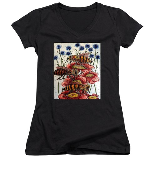 Three Busy Bees Women's V-Neck (Athletic Fit)