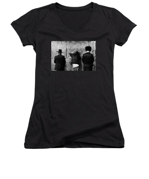 Three Different Selichot Prayers At The Kotel Women's V-Neck T-Shirt (Junior Cut) by Yoel Koskas