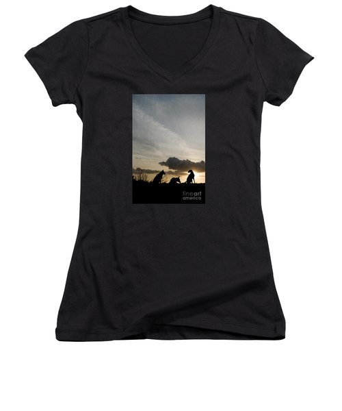 Three Dogs At Sunset Women's V-Neck