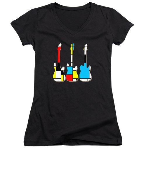 Three Guitars Modern Tee Women's V-Neck T-Shirt (Junior Cut) by Edward Fielding
