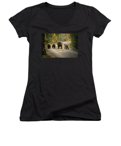 Three Little Bears And Mama Women's V-Neck (Athletic Fit)