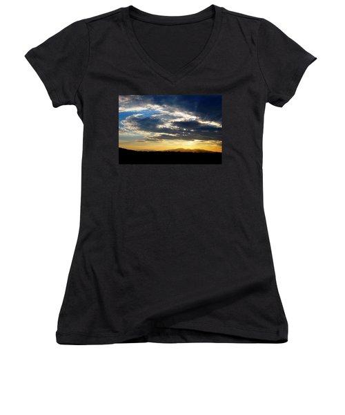 Three Peak Sunset Swirl Skyscape Women's V-Neck T-Shirt (Junior Cut) by Matt Harang