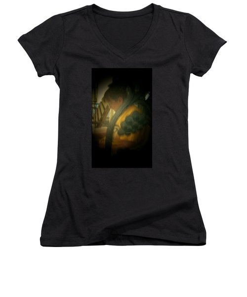 Through The Screen Door Women's V-Neck T-Shirt (Junior Cut) by Lenore Senior