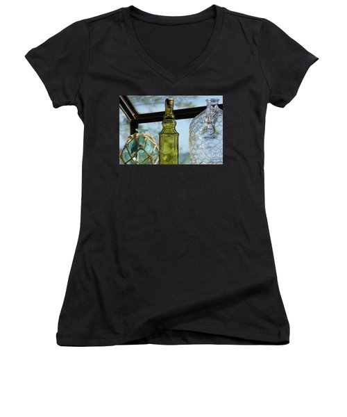 Thru The Looking Glass 3 Women's V-Neck T-Shirt (Junior Cut) by Megan Cohen