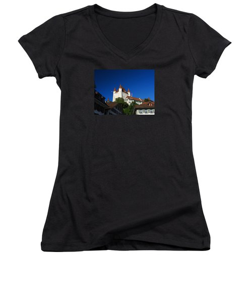 Thun Castle Women's V-Neck T-Shirt (Junior Cut) by Ernst Dittmar