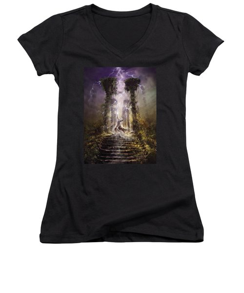 Thunderstorm Wizard Women's V-Neck (Athletic Fit)