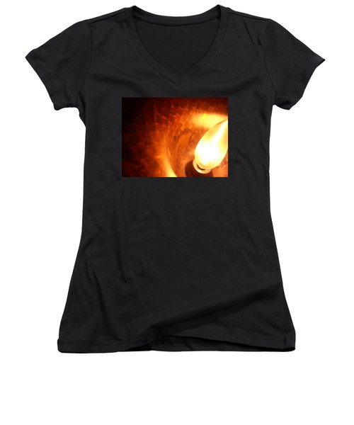 Women's V-Neck featuring the photograph Tiffany Lamp Inside by Robert Knight