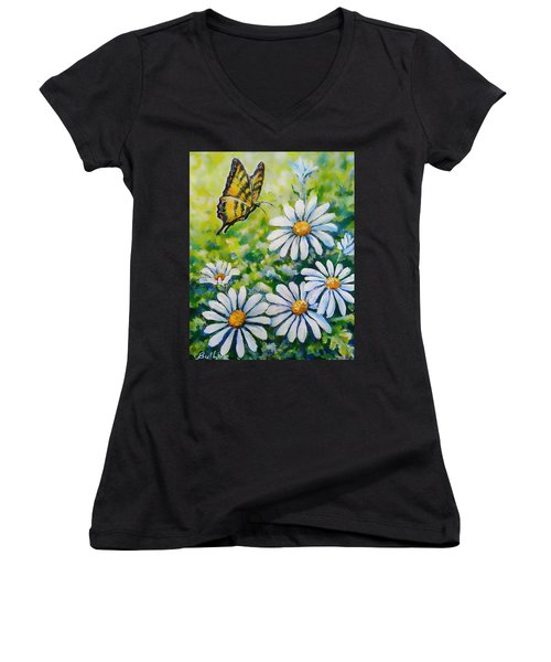 Tiger And Daisies  Women's V-Neck T-Shirt