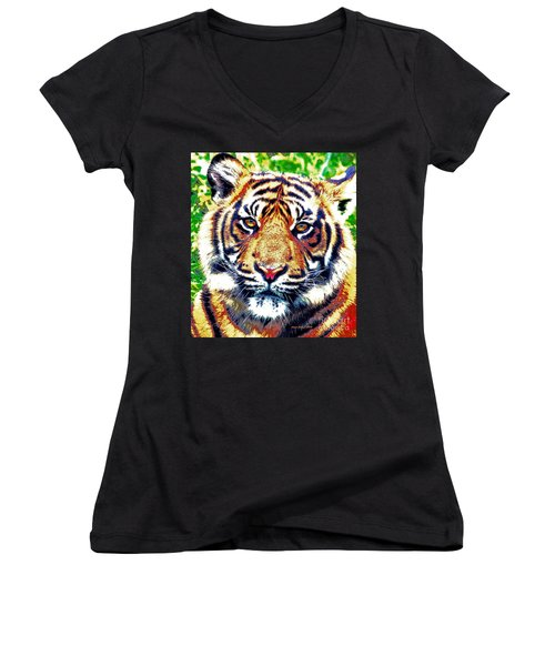 Tiger Art Women's V-Neck T-Shirt (Junior Cut) by Annie Zeno