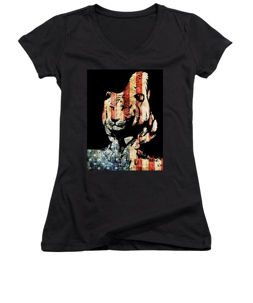 Women's V-Neck T-Shirt (Junior Cut) featuring the drawing Tiger Collage #9 by Kim Gauge